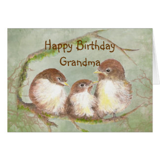 Birthday for Grandma Cute Sparrow Bird Family Card