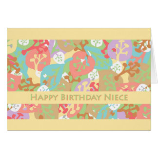 Birthday for Niece, Colorful Leaves on Yellow Card