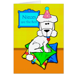 Birthday for Niece, White Poodle on Pillows Card