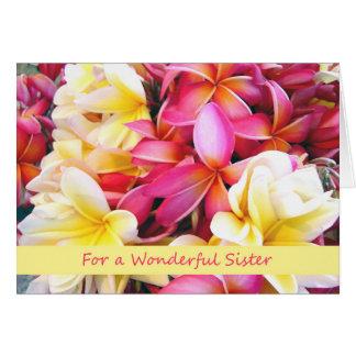 Birthday for Sister, Tropical Plumeria Flowers Card