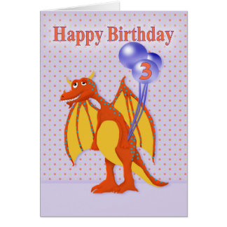 Birthday for Three Year Old with Cartoon Dragon Card