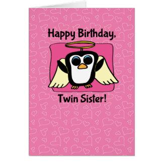 Birthday for Twin Sister - Little Angel Penguin Card