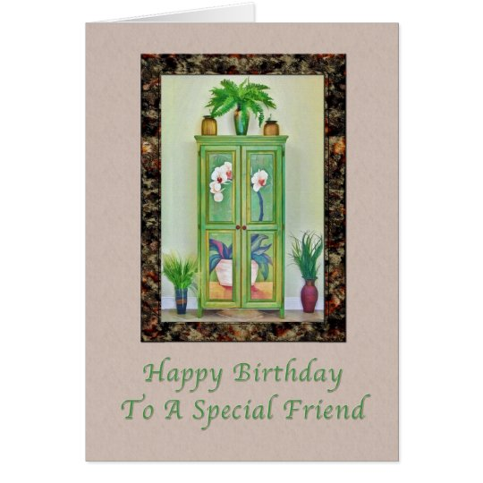 Birthday, Friend, Still Life with Antique Cabinet Card