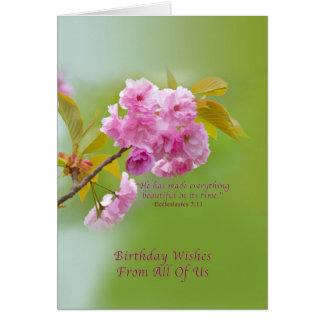 Birthday, From All of Us, Cherry Blossoms Card