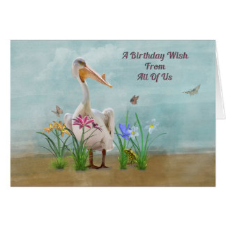 Birthday, From Group , Pelican, Flowers Greeting Card