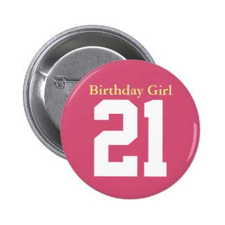 Birthday Girl 21 Macaron Rond 5 Cm