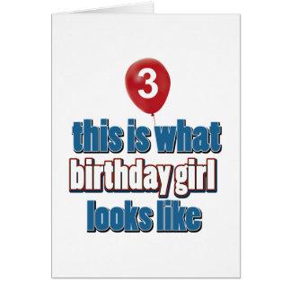 Birthday Girl 3 Greeting Card
