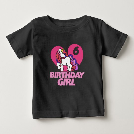 Birthday Girl 6th birthday Unicorn Baby T-Shirt