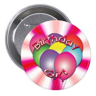 Birthday Girl Balloons Button