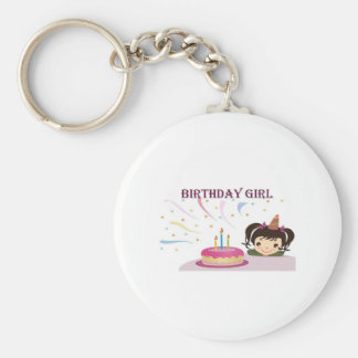 Birthday Girl Basic Round Button Keychain