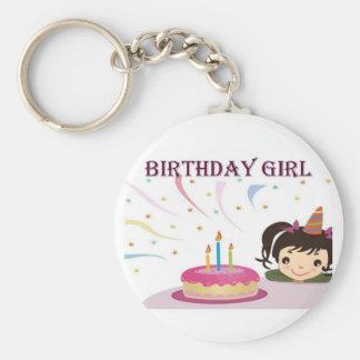 Birthday Girl Basic Round Button Keychain
