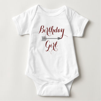 Birthday Girl - Boho Gray Arrow - Customize Baby Bodysuit