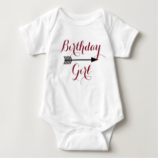 Birthday Girl - Boho Maroon Arrow - Customize Baby Bodysuit