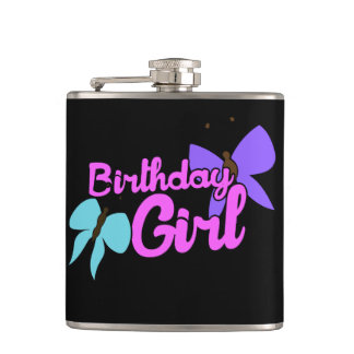 Birthday Girl butterfly Flask