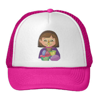 Birthday girl cupcakes mesh hats