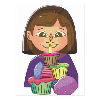 Birthday girl cupcakes postcard