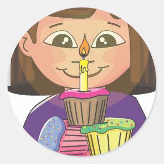 Birthday girl cupcakes round sticker