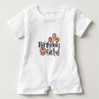 Birthday Girl Cute Design for 1st and 2nd Birthday Baby Romper