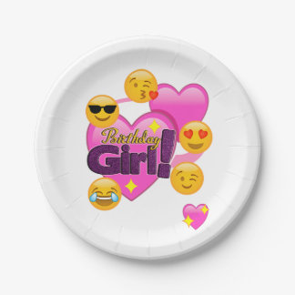 Birthday Girl Emojis Heart 7 Inch Paper Plate