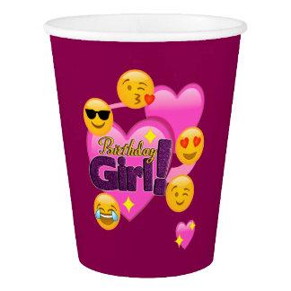 Birthday Girl Emojis Heart Paper Cup