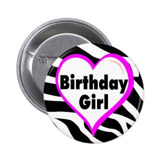 Birthday Girl (Heart Zebra Stripes) 2 Inch Round Button