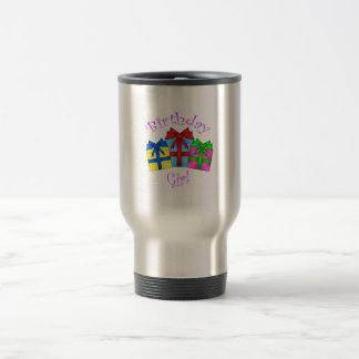 Birthday girl in purple with presents 15 oz stainless steel travel mug