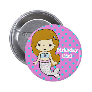 Birthday Girl Mermaid Button