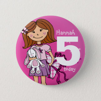 Birthday girl name and age button / badge