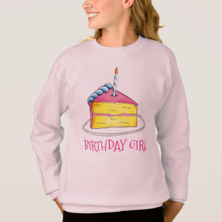 Birthday Girl Pink Cake Slice Candle Sweatshirt