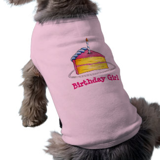 Birthday Girl Pink Cake Slice w/ Candle Dog Shirt