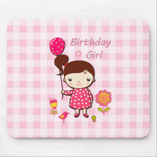 Birthday Girl Pink Pattern Balloon Flower Cartoon Mouse Pad