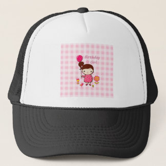 Birthday Girl Pink Pattern Balloon Flower Cartoon Trucker Hat