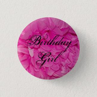 Birthday Girl Pink Tissue Paper Flower Button
