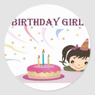Birthday Girl Round Sticker