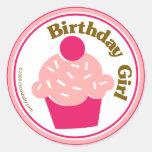 Birthday Girl Round Sticker