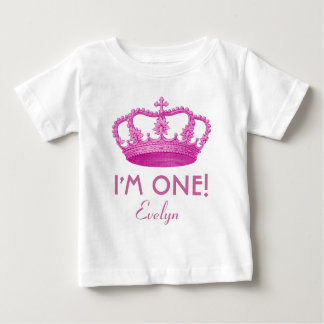 Birthday Girl Royal Princess Crown One Year Old Baby T-Shirt