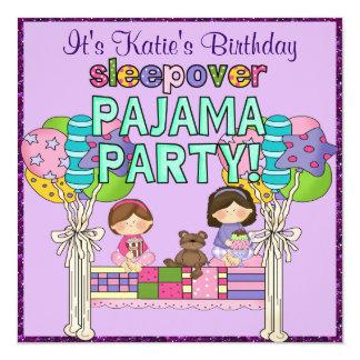 "Birthday Girl Sleepover Pajama Party 5.25"" Square Invitation Card"
