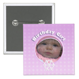 Birthday Girl Winter Onederland 2 Inch Square Button