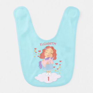 Birthday Girl With Cool Sweet Unicorn Trendy Funny Bib
