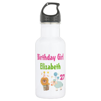 Birthday Girl with Party Lion and Balloon Sheep 532 Ml Water Bottle