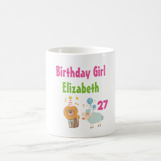 Birthday Girl with Party Lion and Balloon Sheep Coffee Mug