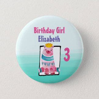 Birthday Girl with Watercolor Bear Wearing a Crown 2 Inch Round Button