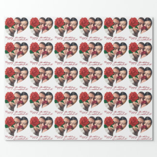 Birthday girlfriend heart photo Wrapping Paper