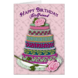 BIRTHDAY - GIRLFRIEND - MULTI TIER DECORATED CAKE CARD