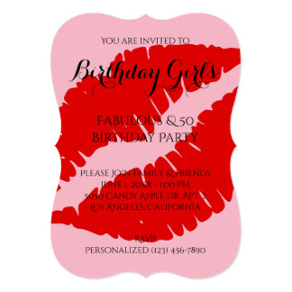 Birthday Girl's & 40 Red Lipstick with Pale Pink Card