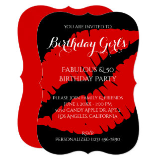 Birthday Girl's Fabulous & 50 Bright Red Lipstick Card