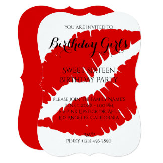 Birthday Girl's Sweet Sixteen Bright Red Lipstick Card