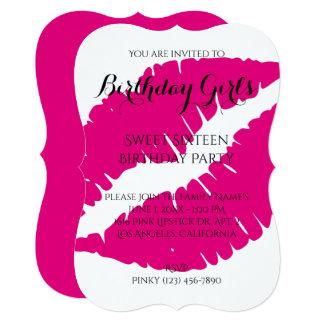 Birthday Girl's Sweet Sixteen Hot Pink Lipstick Card