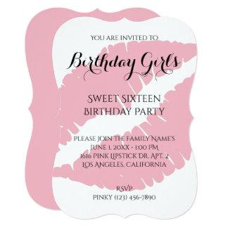 Birthday Girl's Sweet Sixteen Pale Pink Lipstick Card