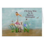 Birthday, Goddaughter, Pelican, Flowers Greeting Card